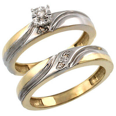 Gold Plated Sterling Silver Ladies 2-Piece Diamond Engagement Wedding Ring Set