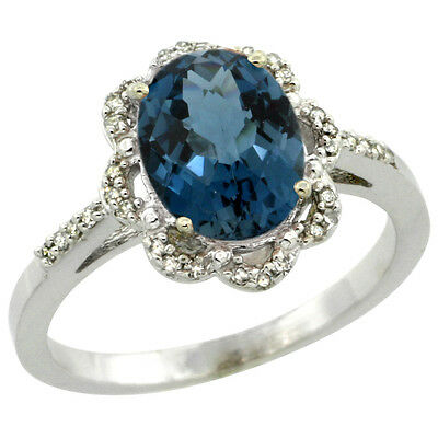 10K White Gold Diamond Halo Natural London Blue Topaz Engagement Ring Oval