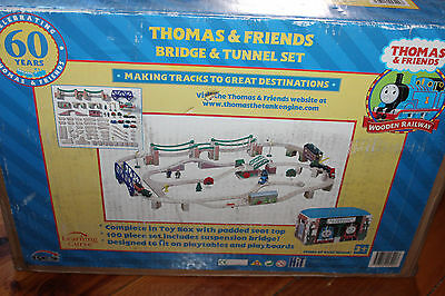 Thomas The Tank Engine Wooden Railway Bridge & Tunnel Set with Box and Cushion