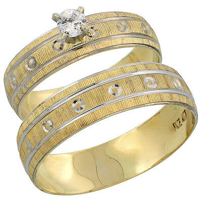 10k Gold 2-Piece Diamond Engagement Ring & Wedding Band Set his and hers 0.10
