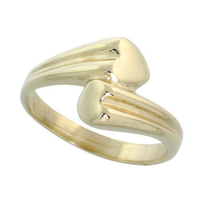"14k Gold Double Heart Ring, 3/8"" (10mm) wide"