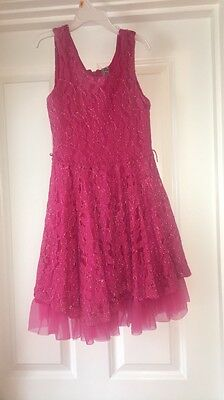 Beautees Girls Lace Dress size 10/12 Pink Party Summer Formal Birthday Pageant
