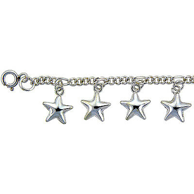 Sterling Silver Stars Anklet, fits 9 - 10 inch ankles