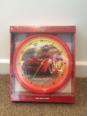 Cars Wall Clock Lightning McQueen Kids Children's New & Sealed Disney