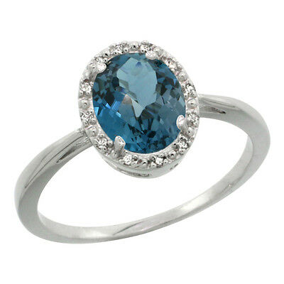 14K White Gold Natural London Blue Topaz Diamond Halo Engagement Ring Oval