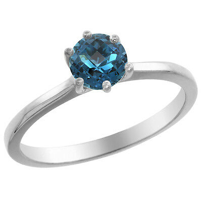 14K White Gold Natural London Blue Topaz Solitaire Ring Round 6mm, sizes 5 - 10
