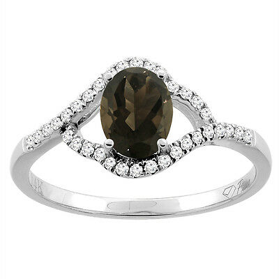 14K Gold Diamond Natural Smoky Topaz Engagement Ring Oval 7x5 mm, sizes 5 - 10
