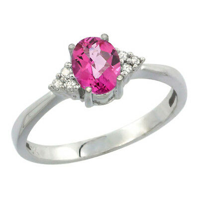 14K White Gold Diamond Natural Pink Topaz Engagement Ring Oval 7x5mm, sizes 5-10