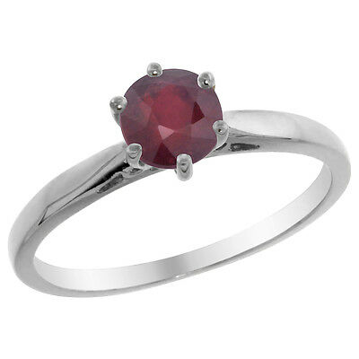 14K White Gold Natural Enhanced Ruby Solitaire Ring Round 5mm, sizes 5 - 10