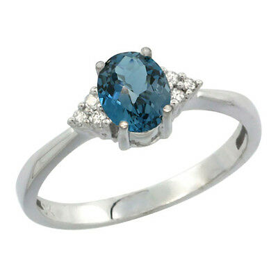 14K White Gold Diamond Natural London Blue Topaz Engagement Ring Oval 7x5mm,
