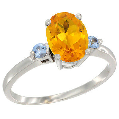 14K White Gold Natural Citrine Ring Oval 9x7 mm Light Blue Sapphire Accent, size