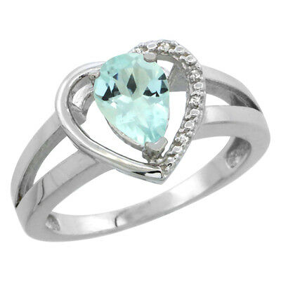 14K White Gold Natural Aquamarine Ring Pear 7x5 mm Diamond Accent, sizes 5-10