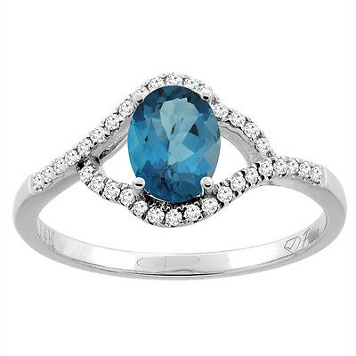 14K White Gold Diamond Natural London Blue Topaz Engagement Ring Oval 7x5 mm,