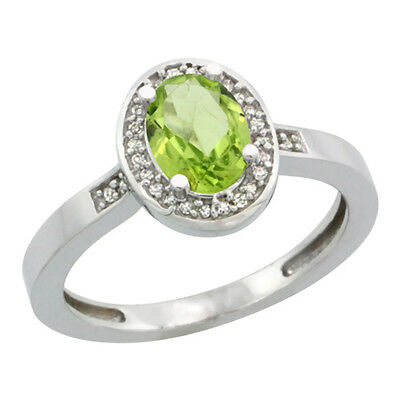 14K White Gold Diamond Natural Peridot Engagement Ring Oval 7x5mm, sizes 5-10