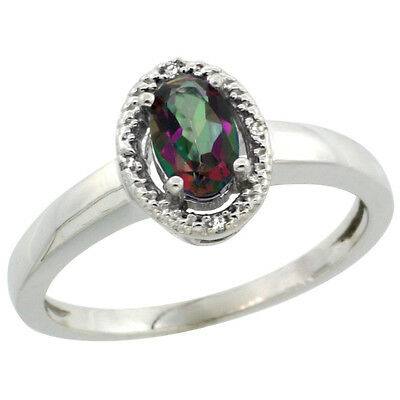 14K White Gold Natural Diamond Halo Mystic Topaz Engagement Ring Oval 6X4 mm,