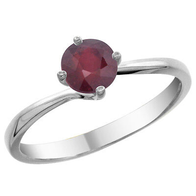 14K White Gold Natural Enhanced Ruby Solitaire Ring Round 6mm, sizes 5 - 10