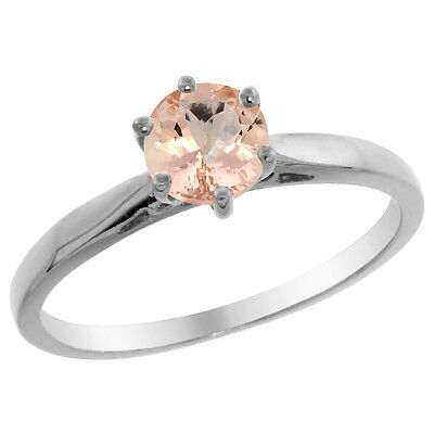 14K White Gold Natural Morganite Solitaire Ring Round 5mm, sizes 5 - 10