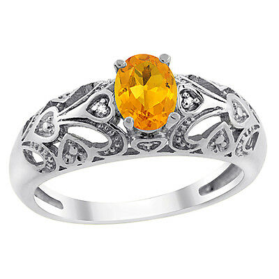 14K White Gold Natural Citrine Ring Oval 6x4 mm Diamond Accent, sizes 5 - 10
