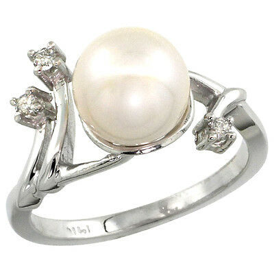 10K White Gold Pearl Ring 9mm & 0.085 cttw Diamond Accents