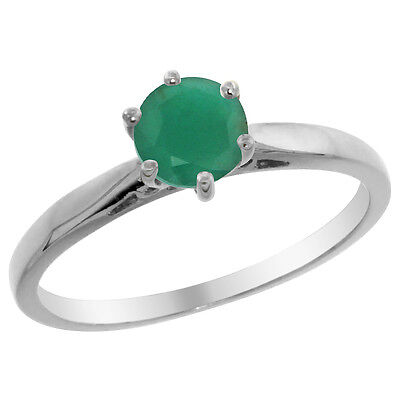 14K White Gold Natural Emerald Solitaire Ring Round 5mm, sizes 5 - 10