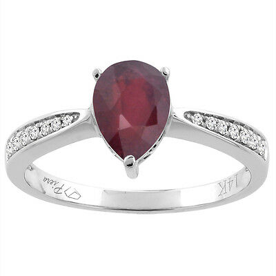 14K Gold Enhanced Ruby Ring Pear Shape 8x6 mm Diamond Accents, sizes 5 - 10