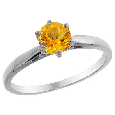 14K White Gold Natural Citrine Solitaire Ring Round 5mm, sizes 5 - 10