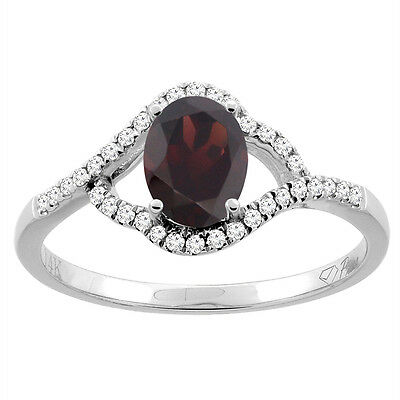 14K Gold Diamond Natural Garnet Engagement Ring Oval 7x5 mm, sizes 5 - 10