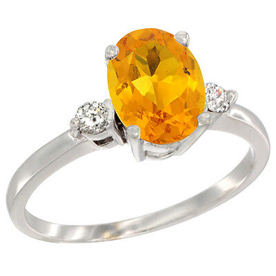 14K White Gold Natural Citrine Ring Oval 9x7 mm Diamond Accent, sizes 5 to 10