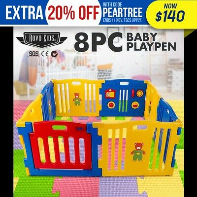 NEW 8pc Baby Playpen - Blue Toddler Safety Monitor Gate Fun Yellow Plastic Child