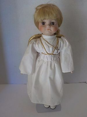 "Vintage 16"" Weeping Crying Angel Doll with Wings and Cross w Stand"