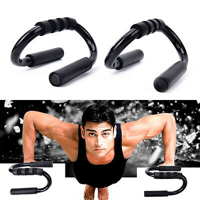 2X Handle Push Up Stands Pull Gym Bar Workout Training Exercise Home Fitness&