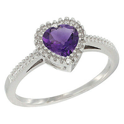 10K White Gold Natural Amethyst Ring Heart 6x6 mm, sizes 5 - 10