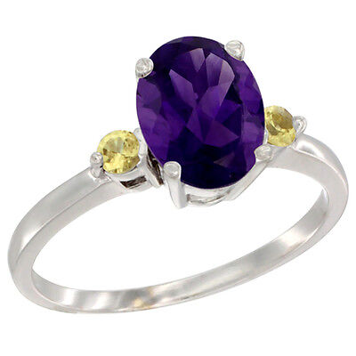 10K White Gold Natural Amethyst Ring Oval 9x7 mm Yellow Sapphire Accent, size 10