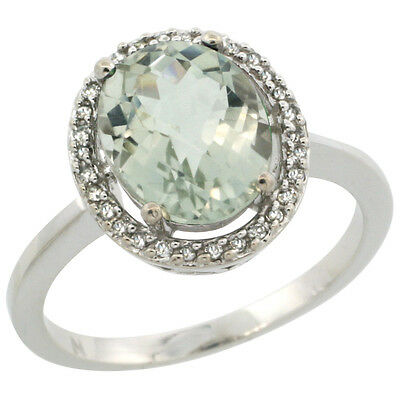 10K White Gold Diamond Halo Natural Green Amethyst Engagement Ring Oval 10X8 mm,