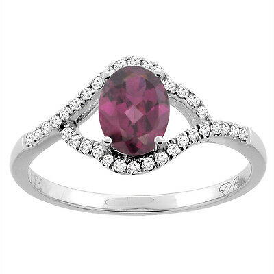 14K Gold Diamond Natural Rhodolite Engagement Ring Oval 7x5 mm, sizes 5 - 10