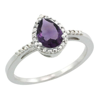 10K White Gold Diamond Natural Amethyst Ring Pear 7x5mm, sizes 5-10