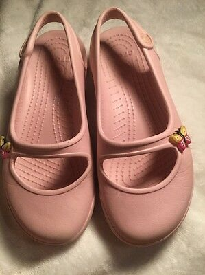 Girls Crocs Light PInk Shoes size J 13 butterfly slingback Sandals