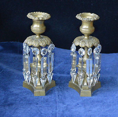 Antique Brass Empire Candlesticks with Lead Crystal Lustre Droplets