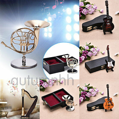 Wooden Mini Electric Guitar Harp Horn Musical Instrument Model Boxed Decor Gift