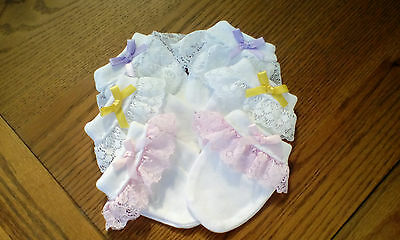 3 pairs of baby girls white scratch mittens with romany lace and bows all new