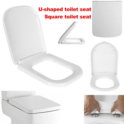 Easy-Fit Oval/Square Soft Close WC Toilet Seat Quick Release Top Fixing Hinges