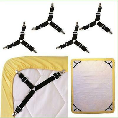 Bed Pad Clip Straps Suspenders Triangle Sheet Band Adjustable Fitted 4pcs FW