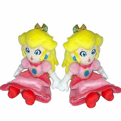 2017 Super Mario Bros. Sitting Princess Peach Soft Cute Toy Doll Gift Toy 8in