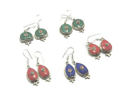 OFFER TURQUOISE,CORAL,LAPIS 925 Tibetan Silver 5 Pir Wholesale Lots Earrings(14)