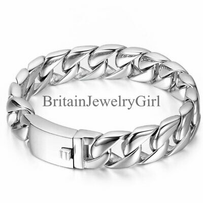 Men's Polished Silver Tone Heavy Stainless Steel Curb Wristband Bracelet Bangle