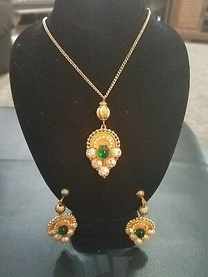 ES39- Vintage Mosell Necklace & Earrings Designer Jewelry Signed Set
