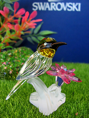 Swarovski Crystal Figurine Green Headed Hummingbird with flower /BOX/COA