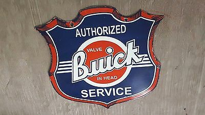 """Porcelain BUICK SERVICE 2 SIDED Enamel Sign 28.5"""" X 30"""" INCHES"""