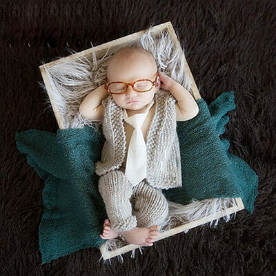Unisex Newborn Children Crochet Knit Coat Pants & Glasses Photography Props Gift