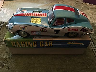 Vintage Friction Tin Plate Racing Car, Jaguar MF211